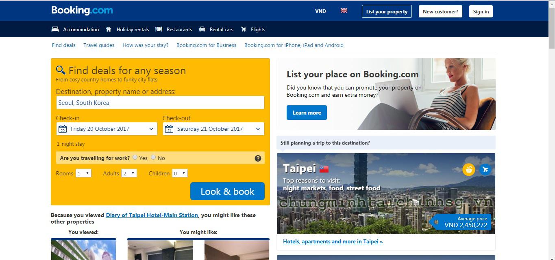 Cách đặt phòng khách sạn Booking.com để xin visa