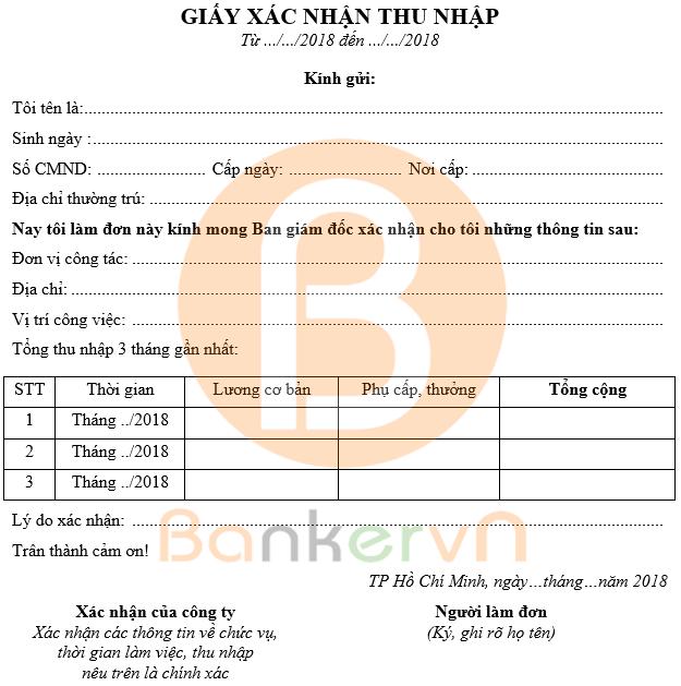mẫu giấy xác nhận thu nhập cá nhân 3 tháng