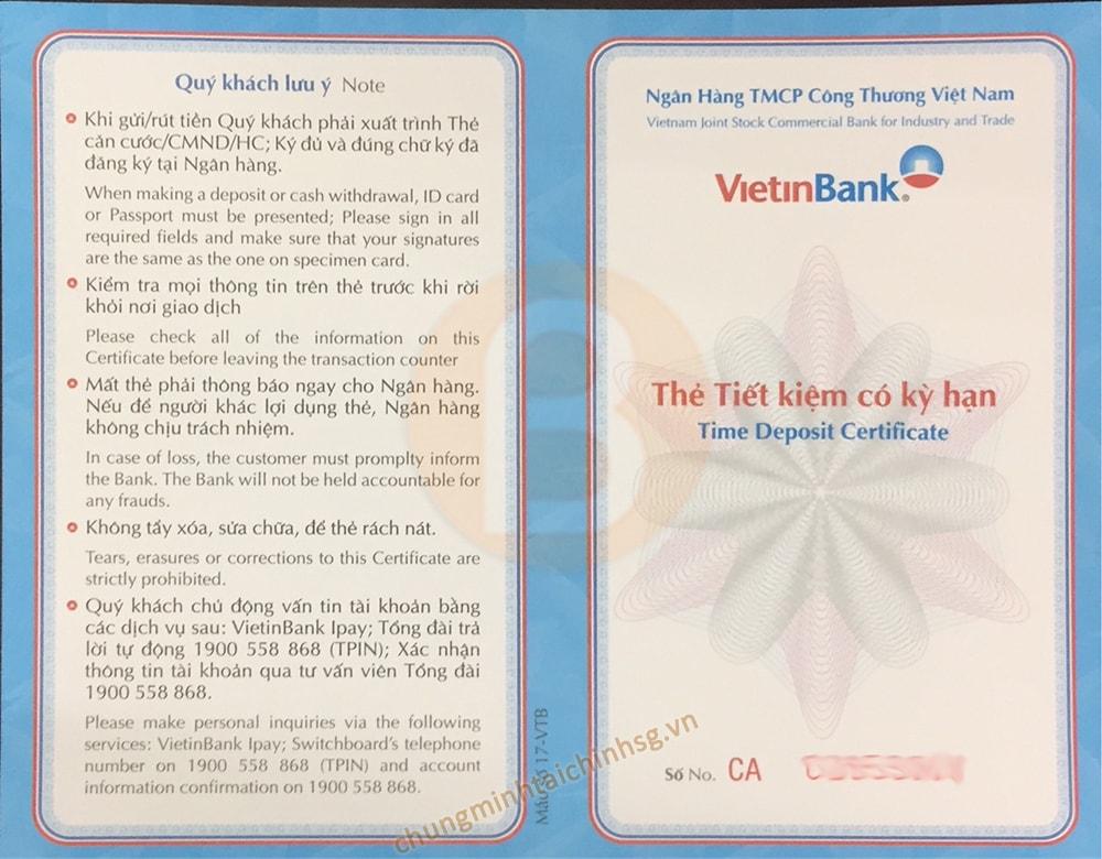 dịch vụ chứng minh tài chính vietinbank