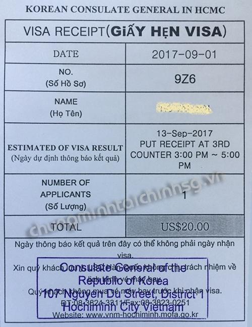 Giấy hẹn trả kết quả visa Hàn Quốc