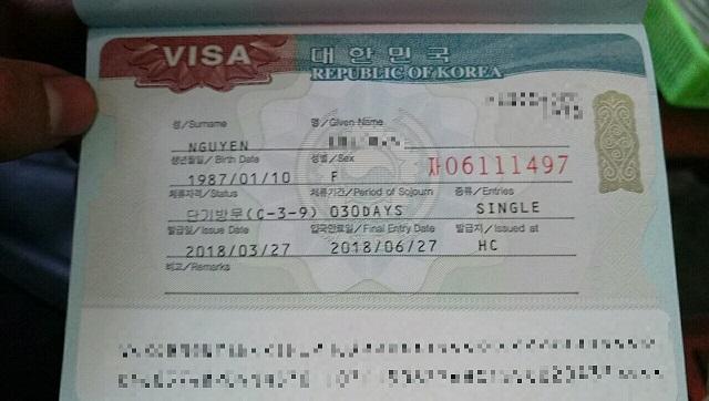 Visa Hàn Quốc C3 ngắn hạn nhập cảnh 1 lần