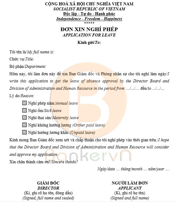 Mẫu đơn xin nghỉ phép song ngữ Việt Anh 03