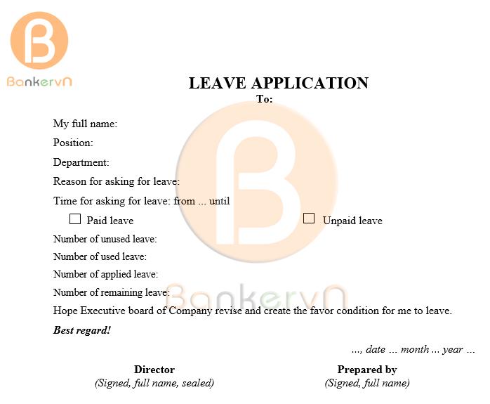 mẫu đơn xin nghỉ phép tiếng anh 03
