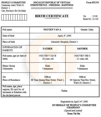 Mẫu dịch sang tiếng anh giấy khai sinh FormHT2/P3
