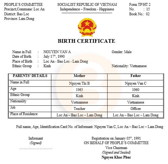 Mẫu dịch sang tiếng anh giấy khai sinh Form TP/HT2