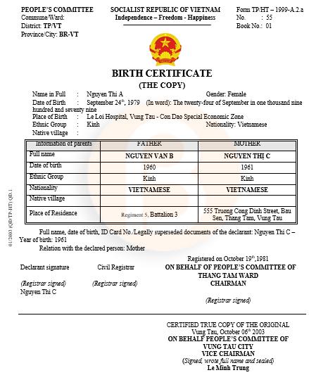 Mẫu dịch sang tiếng anh giấy khai sinh Form TP/HT–1999-A.2.a