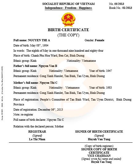 Mẫu dịch sang tiếng anh giấy khai sinh Form TP/HT–2010-KS.1a