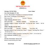 Mẫu dịch sang tiếng anh giấy khai sinh Form TP/HT–2010-KS1