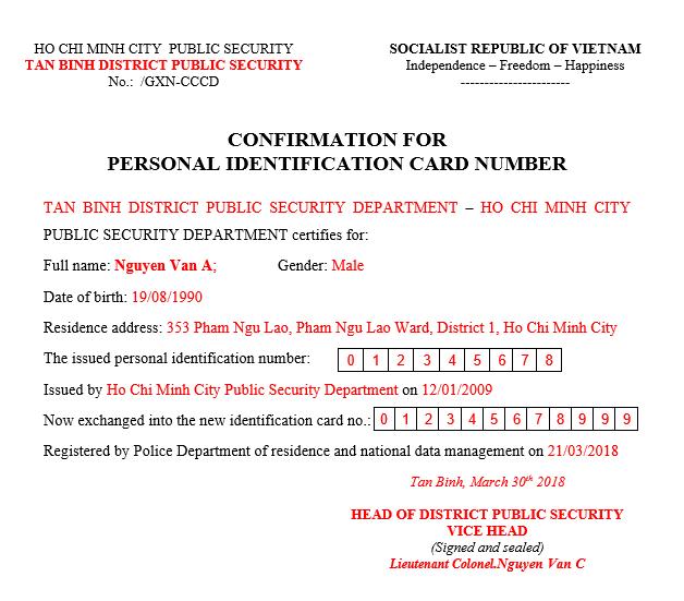 dịch giấy xác nhận thay đổi số chứng minh nhân dân sang tiếng anh