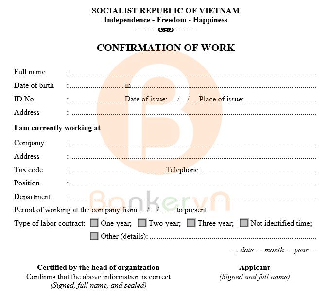 mẫu giấy xác nhận công tác tiếng anh có quốc hiệu 02