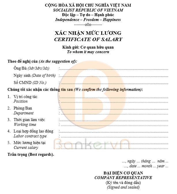 mẫu giấy xác nhận lương song ngữ 01