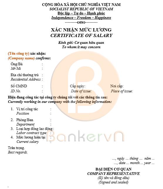 mẫu giấy xác nhận lương song ngữ 02