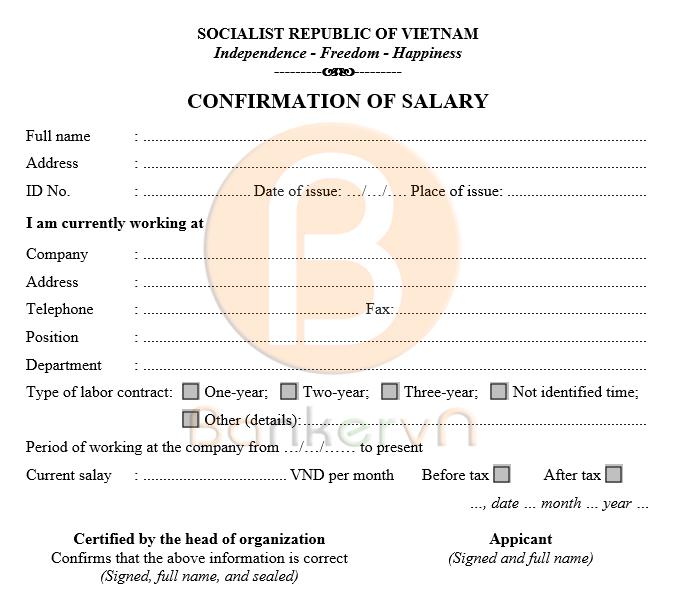 mẫu giấy xác nhận lương tiếng anh có quốc hiệu 02