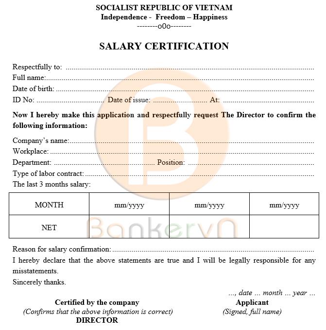 mẫu giấy xác nhận lương tiếng anh có quốc hiệu 03