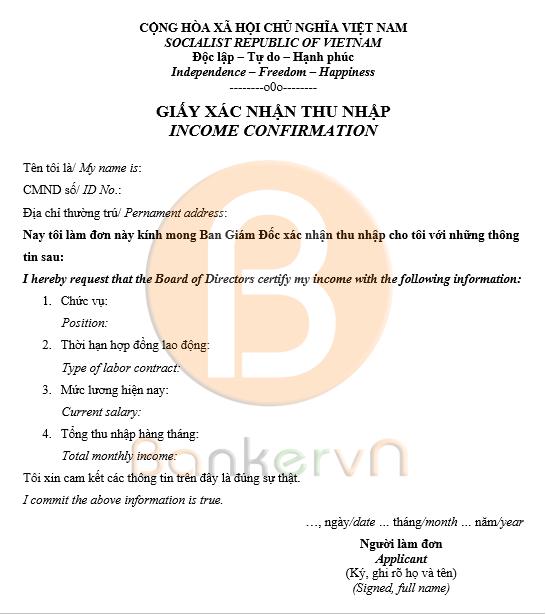 mẫu giấy xác nhận thu nhập cá nhân song ngữ 01
