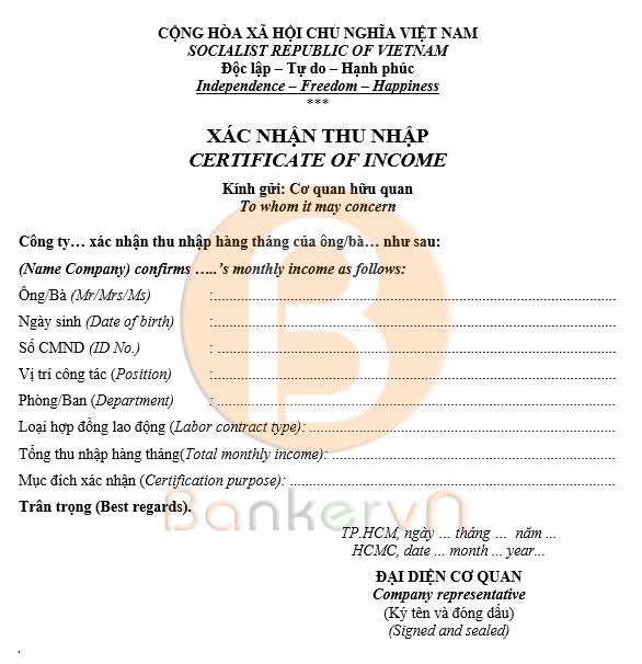 mẫu giấy xác nhận thu nhập cá nhân song ngữ 02