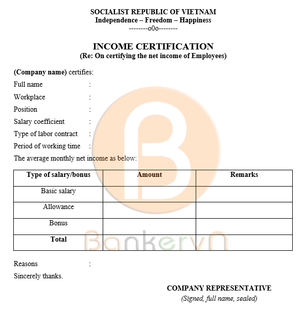 mẫu giấy xác nhận thu nhập cá nhân tiếng anh có quốc hiệu 01