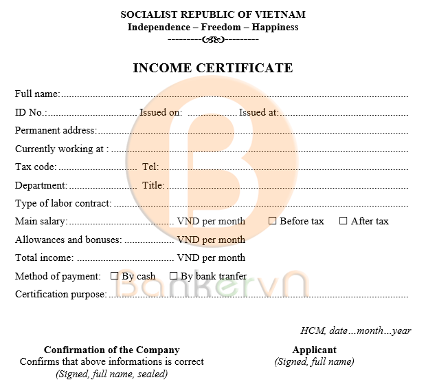 mẫu giấy xác nhận thu nhập cá nhân tiếng anh có quốc hiệu 02