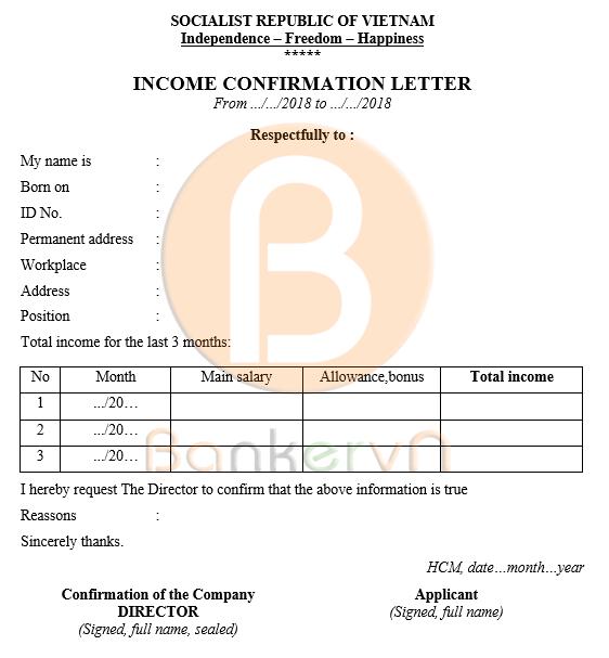 mẫu giấy xác nhận thu nhập cá nhân tiếng anh có quốc hiệu 03