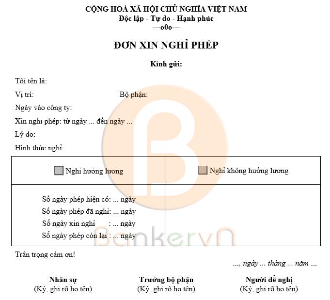 mẫu đơn xin nghỉ phép 04
