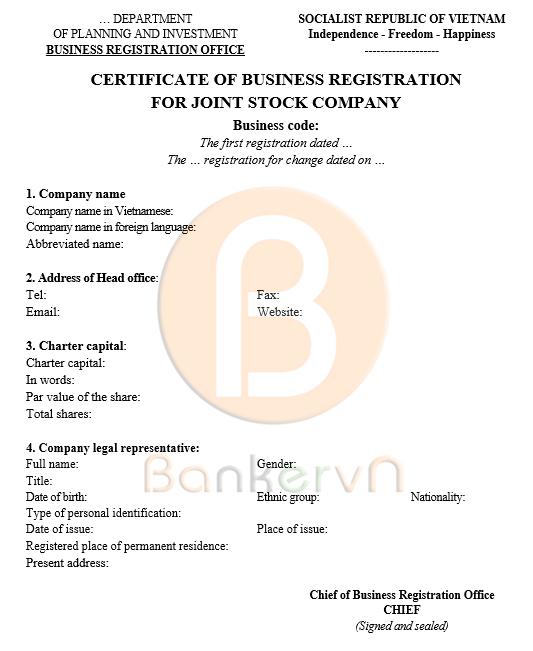 Mẫu giấy chứng nhận đăng kí doanh nghiệp công ty cổ phần