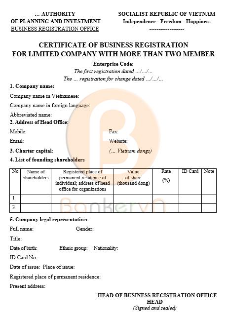 Mẫu giấy chứng nhận đăng ki doanh nghiệp công ty TNHH Hai thành viên trở lên