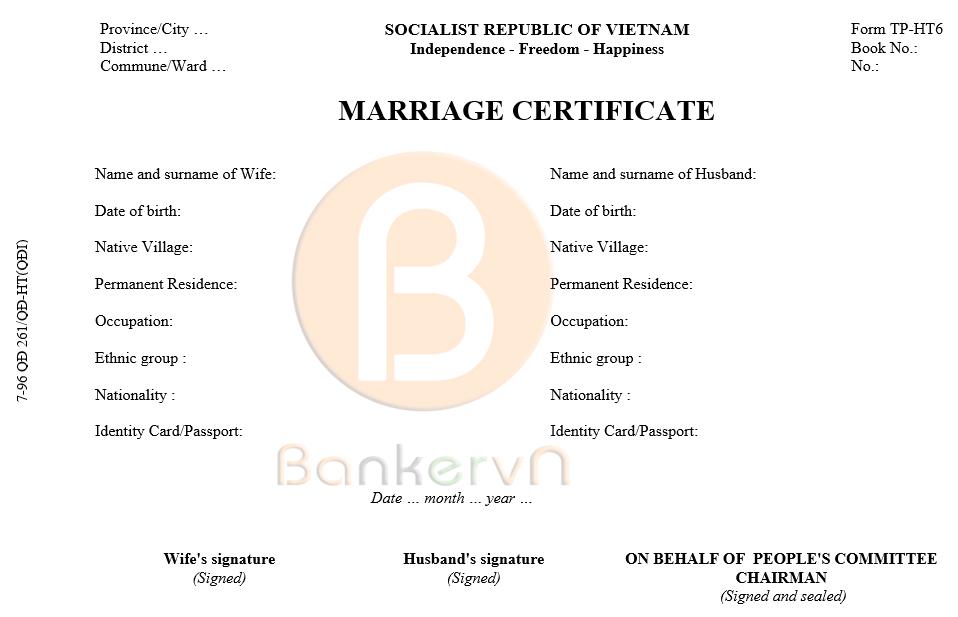 mẫu dịch giấy chứng nhận kết hôn sang tiếng anh: form 1996-TP/HT6 bản chính