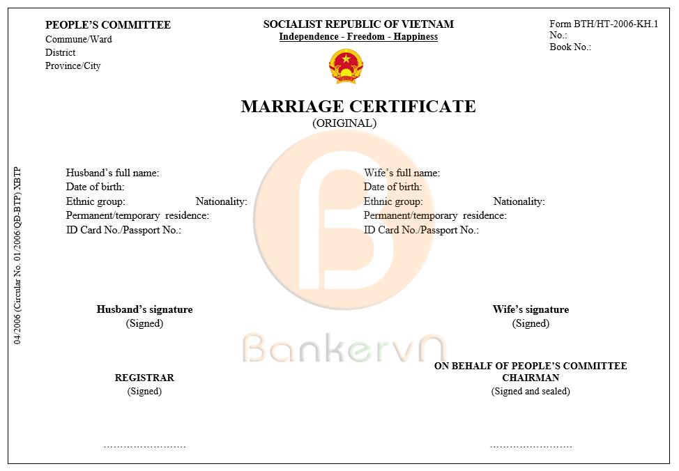 mẫu dịch giấy chứng nhận kết hôn sang tiếng anh: form BTP/HT-2006-KH.1 bản chính