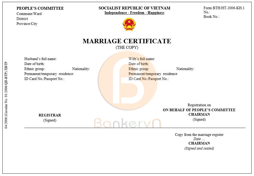 mẫu dịch giấy chứng nhận kết hôn sang tiếng anh: form BTP/HT-2006-KH.1 bản sao
