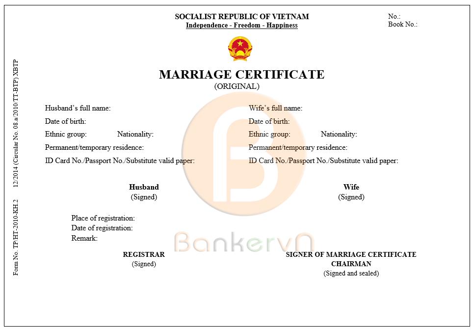 mẫu dịch giấy chứng nhận kết hôn sang tiếng anh: form BTP/HT-2010-KH.2