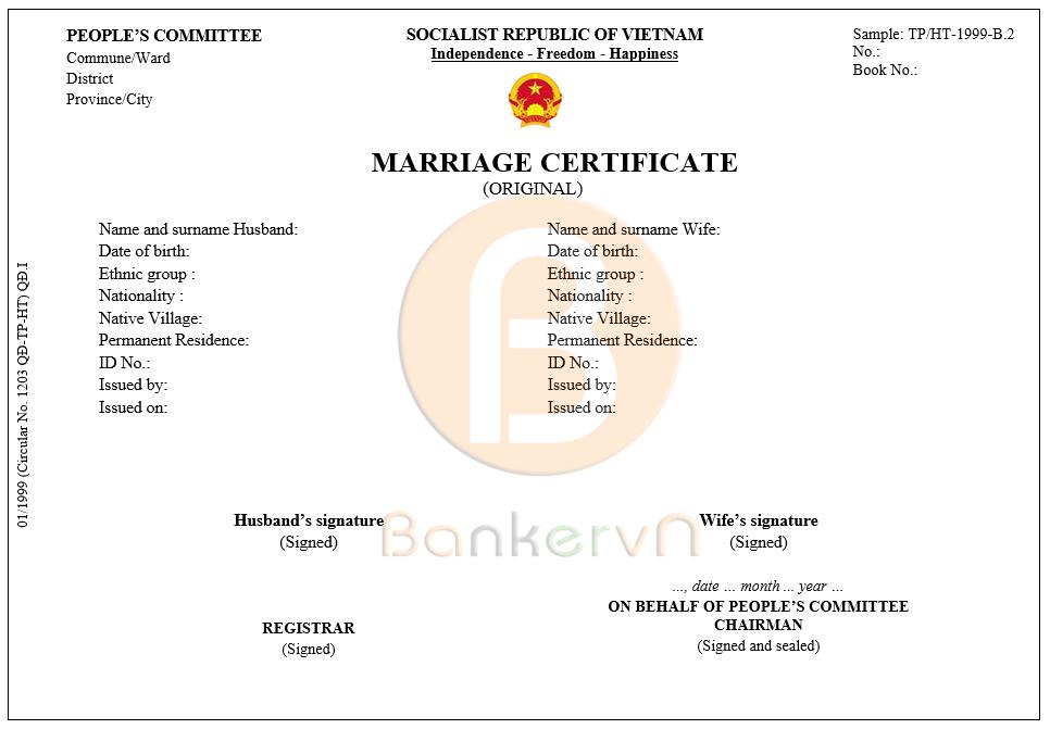 mẫu dịch giấy chứng nhận kết hôn sang tiếng anh: form TP/HT-1999-B2