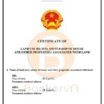 mẫu giấy chứng nhận quyền sử dụng đất và tài sản trên đất tiếng anh tờ 1