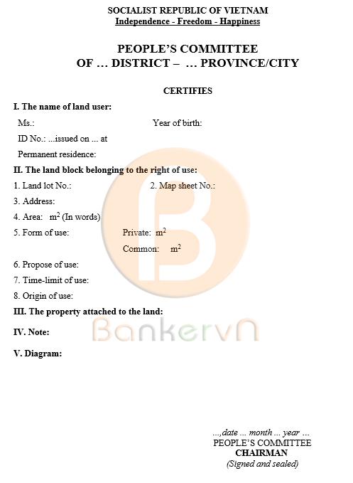 mẫu giấy chứng nhận quyền sử dụng đất tiếng anh tờ 2