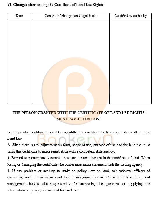 mẫu giấy chứng nhận quyền sử dụng đất tiếng anh tờ 3