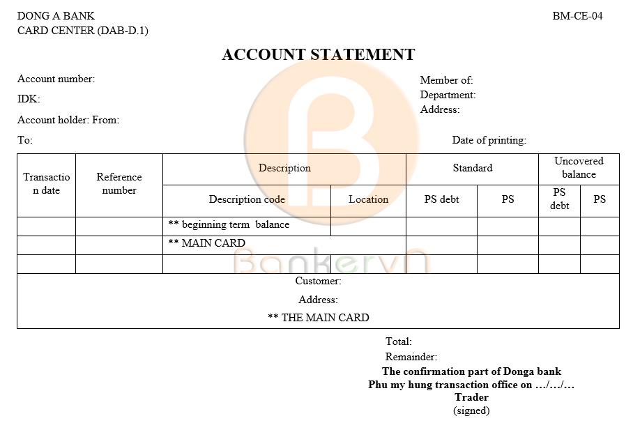 mẫu sao kê tài khoản ngân hàng Đông Á