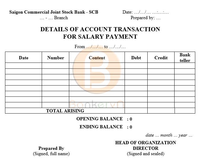 mẫu sao kê tài khoản ngân hàng SCB