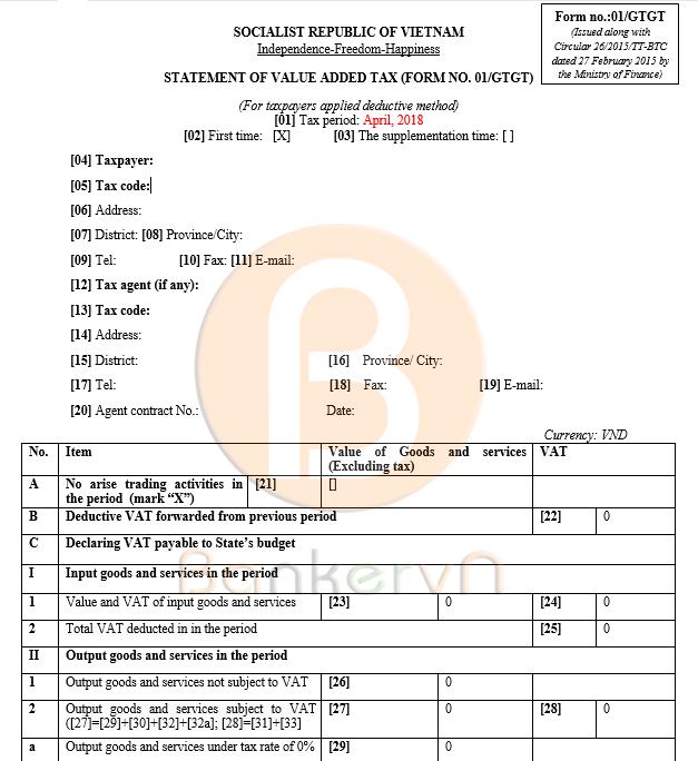 mẫu tờ khai thuế giá trị gia tăng tiếng Anh 01 tờ 1