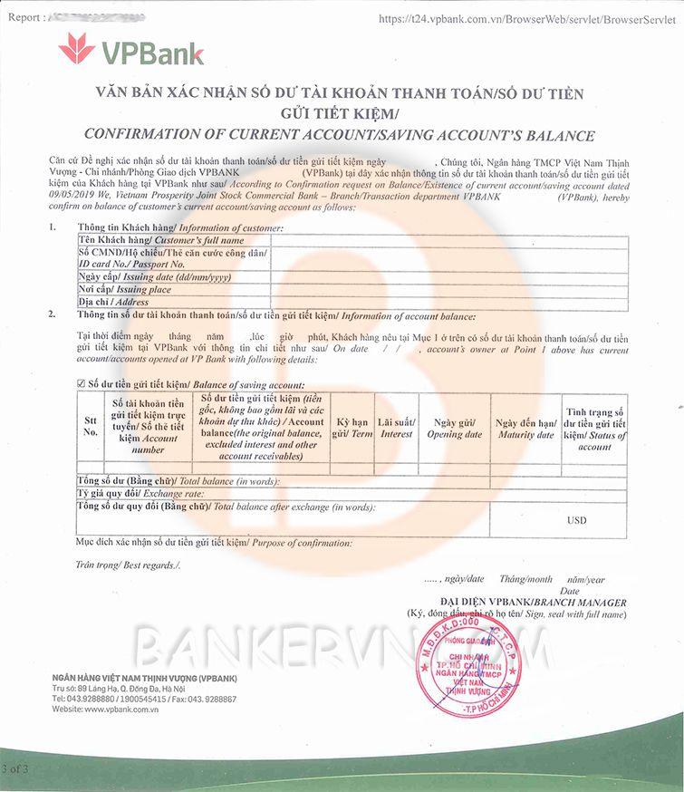 mẫu giấy xác nhận số dư VPBank