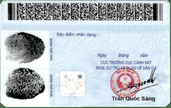 mẫu mặt sau thẻ căn cước công dân