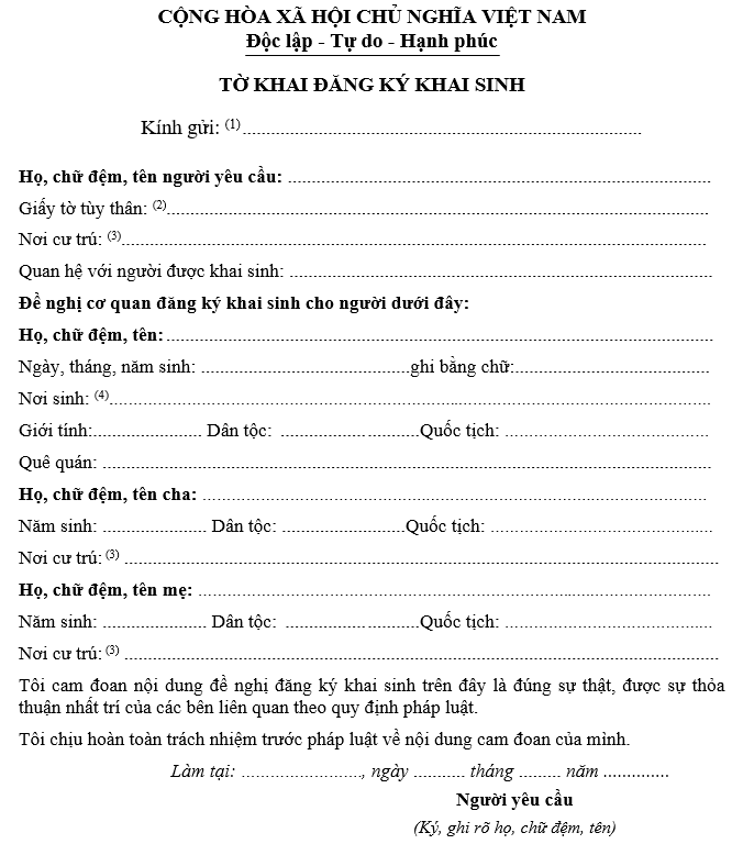 Mẫu tờ khai đăng ký giấy khai sinh