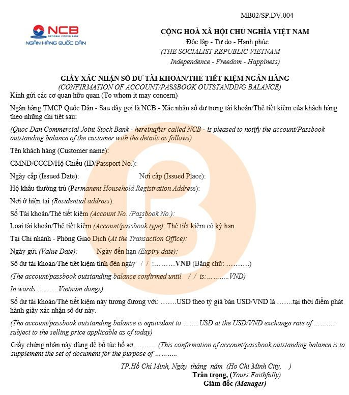 Giấy xác nhận số dư tài khoản NCB