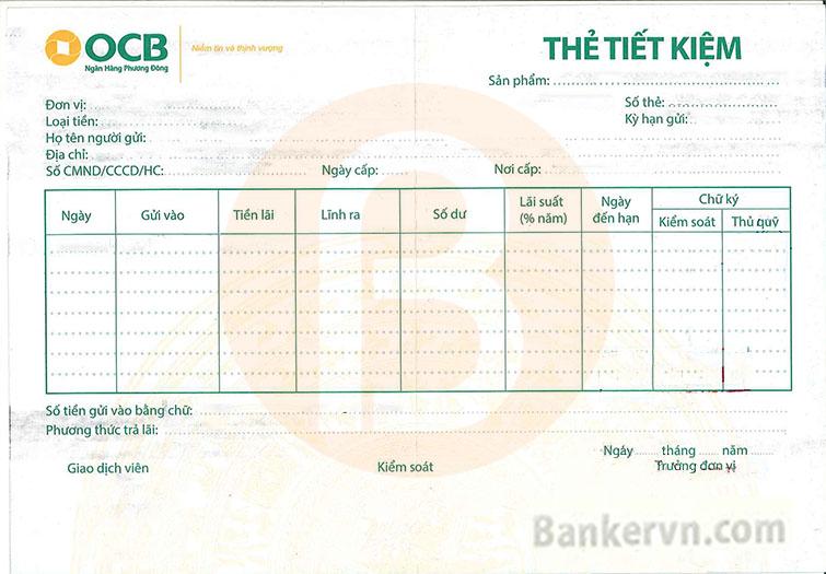 Sổ tiết kiệm ngân hàng OCB