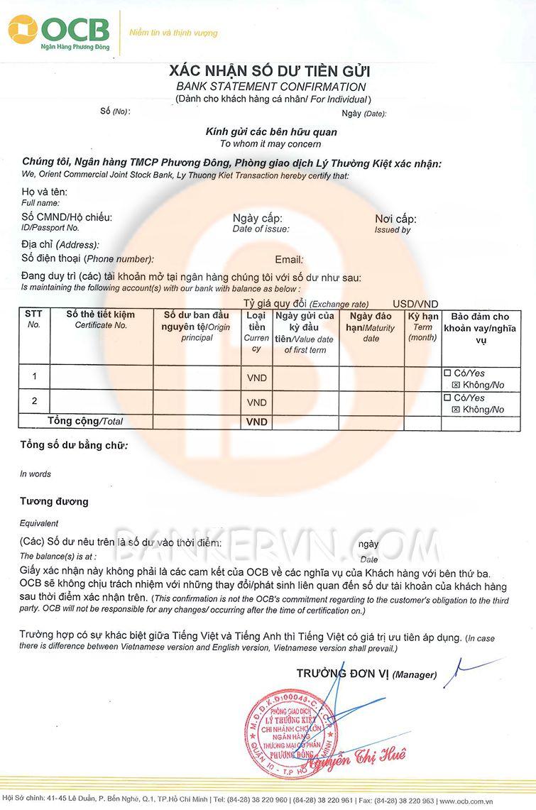mẫu giấy xác nhận số dư ocb