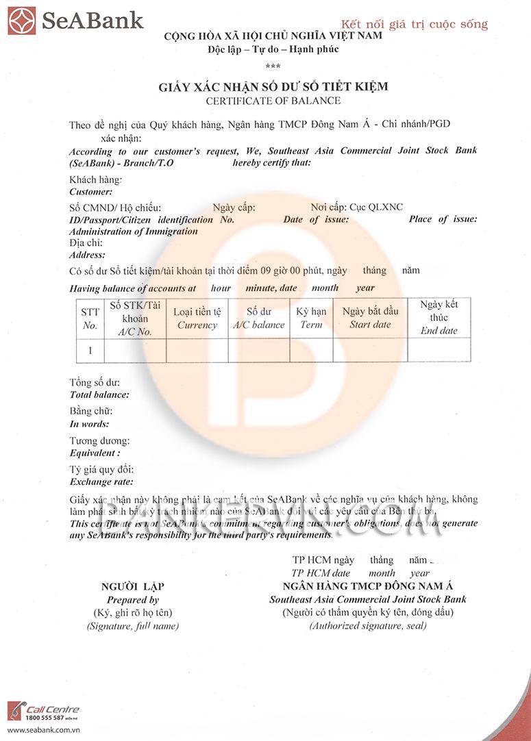 Mẫu giấy xác nhận số dư ngân hàng SeABank