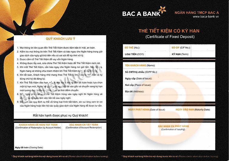 Chứng minh tài chính Bac A Bank