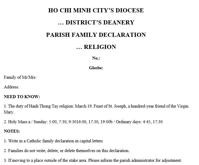 Mẫu dịch thuật tờ khai gia đình công giáo sang tiếng anh