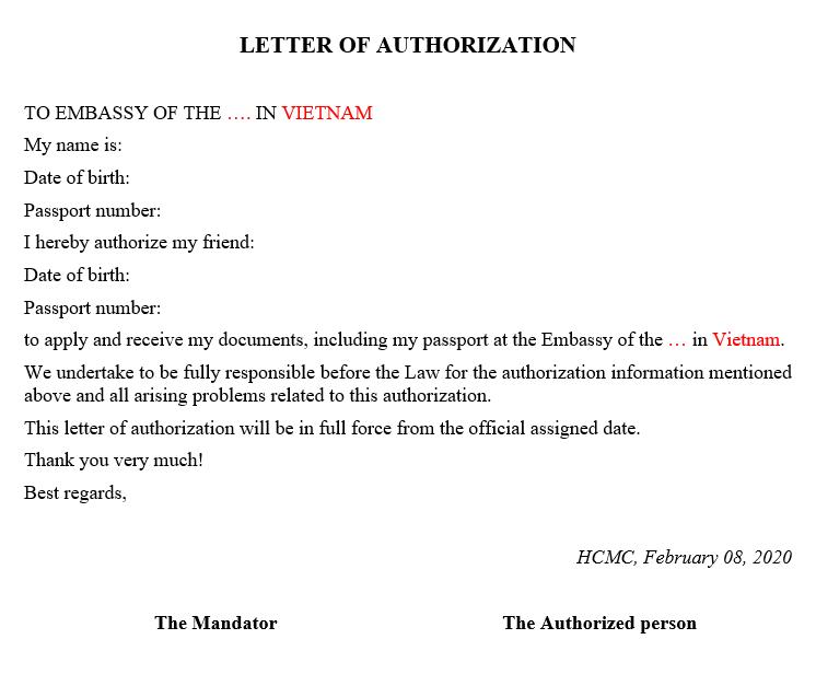 giấy ủy quyền bằng tiếng anh để nộp và nhận thay xin visa